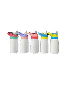 Botella de la manera DIY sublimación Blanks acero inoxidable de doble pared de 12 oz niños vaso con tapa Boquilla de paja DHL BWC1027 envío rápido