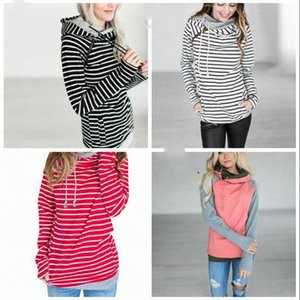 Fashion Girl Stripe T-shirt Patchwork Hooded Pocket Tops Lady Spring Winter Long Sleeves Sweatshirts Candy Color Tops WY217Q BnUD#