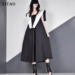 XITAO Tide Plus Size 2 Pieces Set Women Casual Dress Women Clothes 2020 Summer Fashion V Neck Match All Elegant Dress ZLL5293 0921