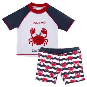 Kavkas Kids Boys Swimming 2 Pieces Swimwear Swimsuits Beach Wear Children's Shorts Baby Short Sleeve Animal Cartoon
