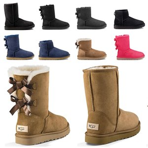 Новые женские туфли Дамы WGG Winter Snow Boots Открытый Австралия Черные Женские Сапоги Толстые Сообщенные Настоящие Кожаные Ботинки Лодыжки Нескользящие и теплые
