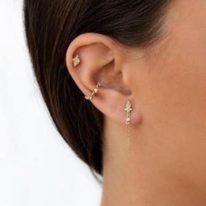 100 % 925 스털링 실버 술 체인 디자인 우아한 현대 여성 여자 선물 워터 드롭 베젤 CZ 실버 보석 체인 귀걸이