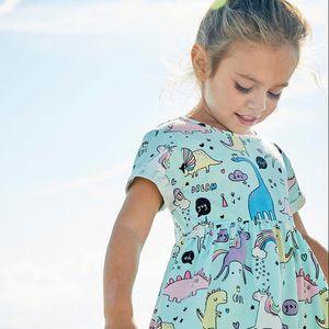 Девушки летнее платье Симпатичные животные Unicorn мультфильм Pattern Хлопок марка ребенок мода Детская одежда