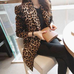 Print Women Blazer Leopard Suit Jacket Female One Button Outerwear casual Long Sleeve coat Plus Size