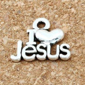 200pcs / lot Hot vendre I love Jesus Charms Pendentifs Charm Argent Antique Fit Bracelet Bijoux bricolage 13x16mm A-171
