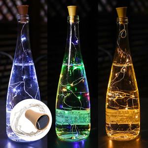 Solar botella tapón del vino de la fiesta al aire libre de cobre Hada Banda Cable decoración de la novedad noche de la lámpara DIY Cork luz de la secuencia