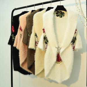 winter women mohair knitted cargidans lady 3 4 sleeve embroidery flower sweaters women crochet flower cargidans sweaters