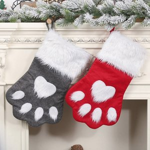 2 Piece Christmas Stockings Ornaments Red Grey Pet Christmas Hanging Socks Children's Gift Bag