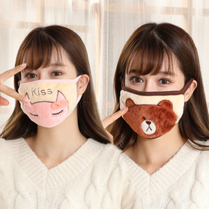 18style Cartoon Face Mask Kids Adult Plush Mouth Masks Bear Cat Animal Pattern Breathing Mask Thick And Warm Winter Mouth Muffle GGA3659