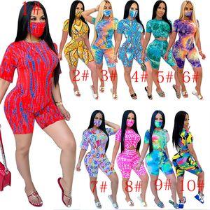 Designer Anzug Frauen Shorts Outfits Tie Dye Shirt Spitze + 2 Stück Hosen Set Damen sweatsuits Kleidung einschließlich Mask dhl889