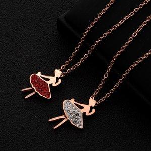 X Clavicle Zinciri Basit kolye Rose Kısa Japonca ve Korece zarif kolye Öğrenci Sevimli Mori Kırmızı Beyaz Zirkonyum Titanyum Çelik necklac