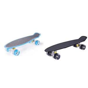 Monopatín Junta las cuatro ruedas Mini Longboard color en colores pastel del patín con ruedas LED parpadeante Monopatín retro