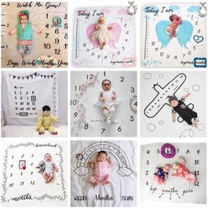 Coperte Toddle Milestone Coperte fondali fotografia Prop Lettera Flower Stampa Coperta Newborn Wrap Swaddling 30 stili DWC1170