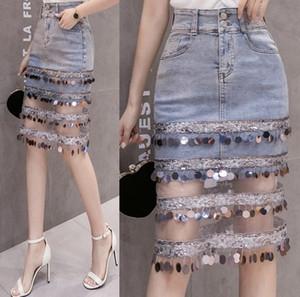 i2a54 One-Step Quaste Quaste denim newlarge bead 2020 one-step skirt Paillette mesh Stitching-denim skirt Hüft-covered