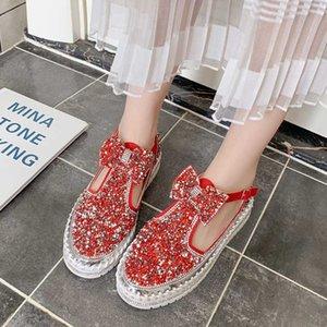Dedo del pie Lucyever Mujeres cristal de la manera Bowknot Pisos Mujeres Ronda de la plataforma de la hebilla del Rhinestone mujer de los zapatos 2020 Otoño zapatos casuales