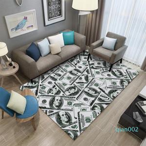 Miracille Geld-Dollar-3D-Lounge Teppiche Wohnzimmer Fläche Teppich Bodenmatte Nacht Flur Kinder Schlafzimmer Teppich Hauptdekorationen
