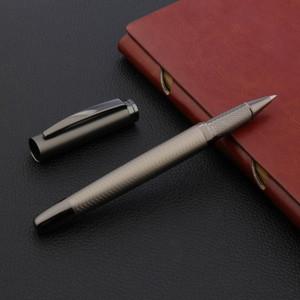2020 de lujo de alta calidad del metal de la pluma de Rollerball onda cepillado pistola firma gris NEGRO DE TINTA Oficina útiles escolares tinta de la pluma