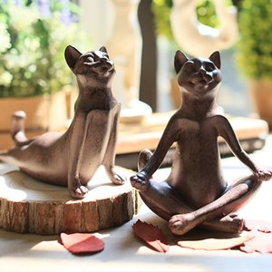 Fashion Yoga Cat Home Decoration Resin Art Model Crafts Ornaments Nordic Living Room Porch Children's Room TV Cabinet Decor
