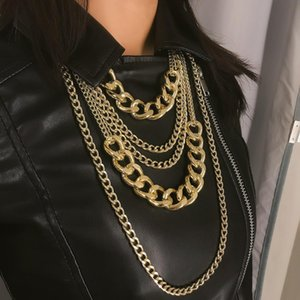 Hip Hop Tassel multilayer Women Necklace Pendant Punk Simple Motorcycle Body Jewelry Chain Link Gift 2020 Wholesale