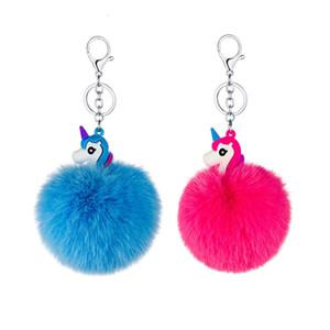 Creative Pompon série Gift Cartoon mignon doux Unicorn fourrure boule porte-clés Sac clé Pendentif