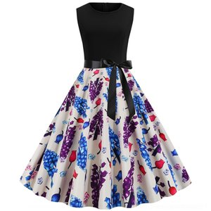 Hzai9 ZFG3C d'été Âge ji xia Qun jupe manches ji casual robe habillée swing 202050s été jupe âge xia imprimé Qun ca sans manches