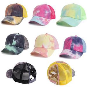 Tintura tintura criss cross rabo rabo de cavalo chapéu chapéu chapéu chapéu bonés tampões de verão chapéu de verão chapéu ajustável hip hop