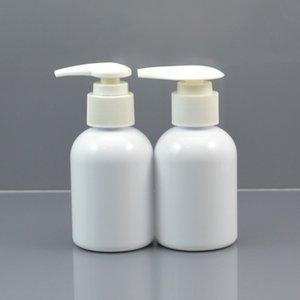 50pc lot 100ml White Plastic Shampoo Bottle, Dispening Pump Cap,Empty Cream Container,Refillable Lotion Bottle,4oz PET Jar