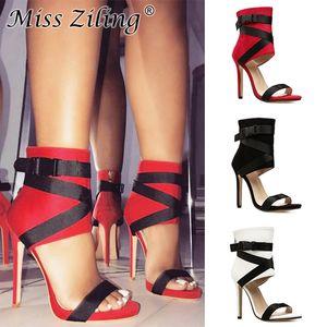 Nueva tacones altos sandalias de las mujeres de pescado boca cruz fina correa de las sandalias atractivas de tacón súper zapatos de vestido rojos para mujer Rojo envío rápido libre
