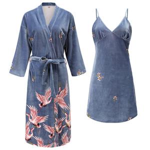Donne Robe Set 2 parti un insieme pigiama 2020 Autunno Inverno Nuovo velluto degli indumenti da notte Homewear Badgown casual