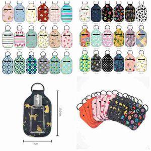 36 Styles Neoprene Hand Sanitizer Bottle Holder 30ml Lipstick Holders Lip Cover Handbag Keychain Pouch Chapstick Holder Party Favor CYZ2639