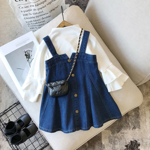 2020 2-8Y Toddler Baby Girl Fashion Clothing 2pcs White Solid Flare Long Sleeve Blouse+Denim Bib Dress Casual Outfits Fall Set