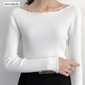MOVOKAKA 스웨터 겨울 여성 스웨터 편직 풀오버 패션 2020 여성 빈티지 슬림 럭셔리 스웨터 풀오버 여성