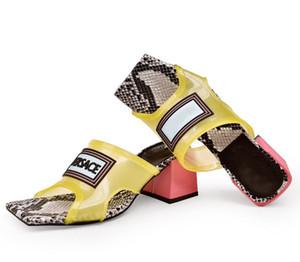 Versace  flip flop 2020 Top Transparent Femmes Femmes d'âge Sandales à talon, talon haut Slides Mulets PVC Haute avec semelle en cuir Made in Italy jusqu'à la taille 35-43