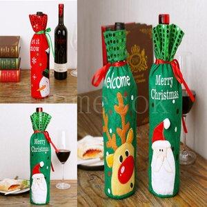 Capa de garrafa de vinho de Natal Papai Noel vestido vestido de vinho de xmas saco de vinho Natal mesa decoração criativa garrafa capa da914