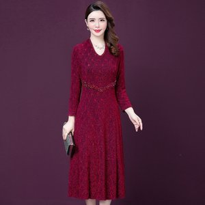 xLDim HjNGz Wedding Pullover size 2020 Autumn sleeve large dress stretch socialite temperament long new mid-length pullover dress