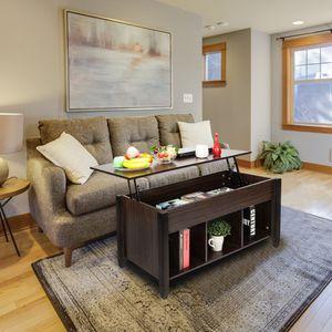 WACO подъемный журнальный столик, мебель для гостиной с скрытой полкой отсека для хранения, (коричневый)