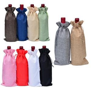 16Colors New presente Chrismas Bolsas Decorações de Natal Red Wine Bottle Capa Bolsas Presentes Xmas Wine Champagne Bag Xmas 15 * 35 centímetros DHD1113