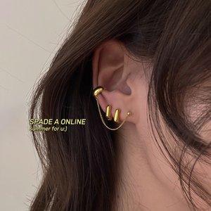 Pierced Ears Girls Good News 2020 New Cold Wind Simple Ear Clip Ear Clip Metallic Niche Chain Stud Earrings for Women