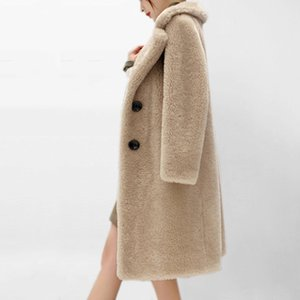 Imitation lamb fur coat in the long section sheep shearing coat new winter fur one autumn and winter women's fake fur coat Y200926