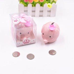 Creative céramique rose / bleu éléphant Banque boîte Coin pour Baptême Favors baby shower cadeaux de baptême LX2926