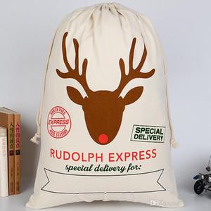 Xmas Gifts Drawstring Canvas Santa Sacks Christmas Large Canvas Monogrammable Santa Claus Drawstring Bag with Reindeers D