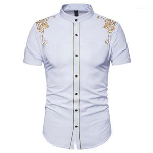 كم طباعة زهري قصير الصيف قمم عارضة ملابس رجالي التطريز الصلبة اللون رجال اللباس قمصان