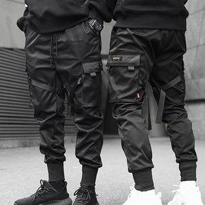 Multi-pocket Men Ribbons Color Block Black Pocket Cargo Pants Harem Joggers Harajuku Sweatpant Hip Hop Trousers