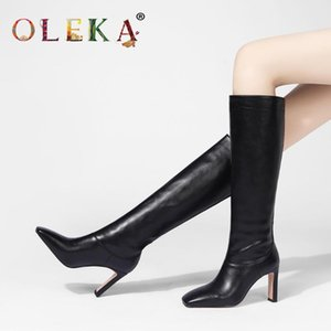 OLEKA Warm Winter Sexy Boots Strange Heel Totem Square Toe Super High Winter Boots Sexy Style Basic Warm Short Plush New AS571