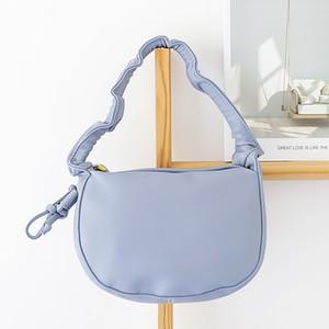 Femmina sveglia del cuoio artificiale in pelle blu borsa Adolescente stile coreano di qualità Pu Piccolo increspature del cellulare ascellare Pouch Bag