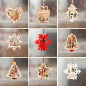 Decorações de Natal enfeite de árvore de Natal do boneco de neve Papai Noel alce pequeno pingente de Natal com pequena ZJ00277 presente pendant woodiness