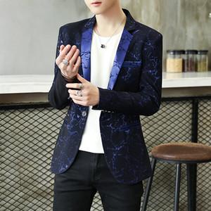 Frühlings-Kleidung 2020 Mens-beiläufige Mantel-Blazer Glitzer-Kostüm Rot Blau Männer Slim Fit Kleid Single Button Velvet Thin Blazer Suits