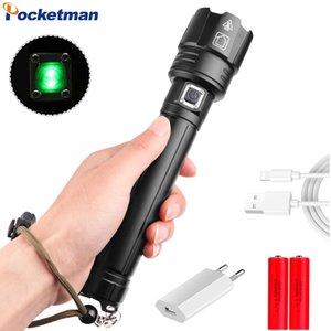 Chegada Nova Ultra Bright XHP70 LED Tactical USB recarregável Torch Use 18650 bateria para Camping Caminhadas