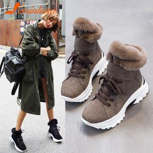 Karin 2020 neue Art und Weise Plattform hinzufügen Pelz-warme Winter-Schnee-Stiefel Damen Schuhe Flock bequeme Plüsch-Lace-Up Komfortable Ankle Boot