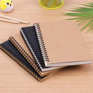 Retro Spiral Coil Sketchbook Kraft Paper Notebook Sketch Painting Diary Journal Student Note Pad Book Memo Sketch Pad C0924